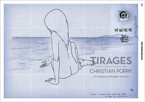 Poster pour l'exposition Tirages, dessins de Christian Porry.